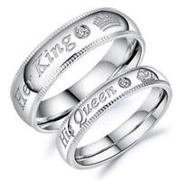 Eg _ Lui Regina e Lei Re Acciaio Inox Coppia per Amante Fidanzamento Anelli Jew