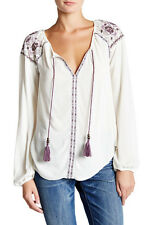 Jolt Women's White Long Sleeve Tassel Split Neck Woven Blouse-size Medium