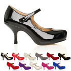 NEW WOMENS LADIES STRAP MID HEEL CASUAL SMART WORK PUMP COURT SHOES SIZE 3-8