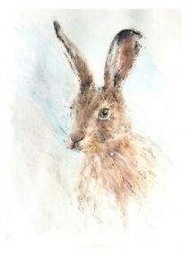 """LIMITED SIGNED EDITION PRINT OF MY ORIGINAL WATERCOLOUR PAINTING """"HARE"""""""
