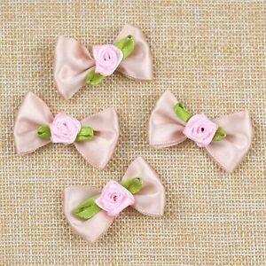 Bulk-10/20P Small Satin Ribbon Flowers Bows w/Mini Rose Flowers Appliques