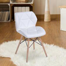 Homcom silla de comedor Tower asiento tapizado patas madera blanco Alcochado