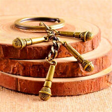 Creative Retro Vintage Bronze Microphone Strings Keyring Keychain Key Chain ♫