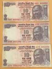 India Ten Rupees Notes - 3 Different Suffix And Signatures - Dated 2013