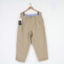 Mens New Beams Plus Japan 2 Pleat Wide Leg Cotton Chino Pants Khaki XL W 36 BNWT