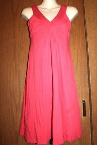 rebecca beeson Rayon Coral Red Above Knee Deep V Neck Pleated Lined Tank Dress 1