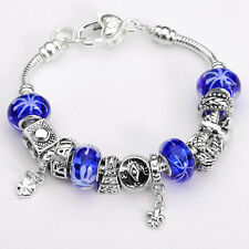 XMAS wholesale solid Silver European Murano Glass Bead Charm Bracelet +Box XB082
