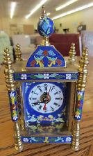 Vintage Brass Enamel Painted Tile Sides Cloisonne Blue Clock