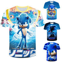 Kids Boys Girls T-shirt Sonic The Hedgehog 3D Print Short Sleeve Tee Tops Size