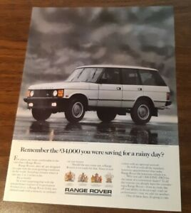 1987 1 PAGE ADVERTISEMENT Range Rover - saving for a rainy day