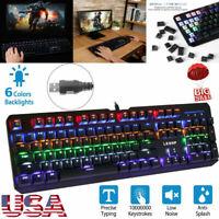 Gaming Keyboard 7 Color Backlit PC Mechanical Backlight Wired LED Illuminated 8c