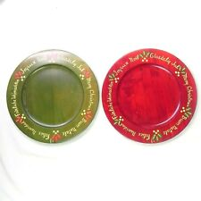 New ListingLot of 2 Hand Painted Christmas Wood Plates Chargers Trays Platters Wall Decor
