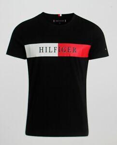 Tommy Hilfiger T-Shirt Logo Bleu Marine Taille:M Neuf avec Étiquette