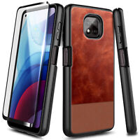 For Motorola Moto G Power (2021) Case, Shockproof Leather Cover +Tempered Glass