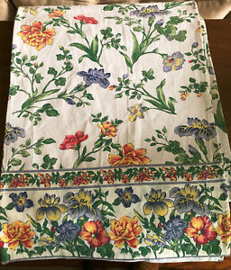 """April Cornell IRIS ECRU 90"""" Floral Green, Yellow, Blue, Red, White Table Runner"""