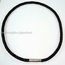 "17"" Black Surfer 6mm Braided Leather Choker Necklace Cool Men's"