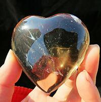 rare !! natural brown transparent quartz crystal carving heart