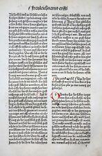 INKUNABEL BLATT SCHATZBEHALTER TEXTBLATT INITIALEN CHRISTI ÖLBERG KOBERGER 1491
