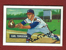EARL TORGESON Actual Autograph Auto on 1951 BOWMAN Reprint Braves Signed WOW!