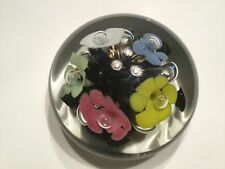 ST CLAIR Vintage BLOWN GLASS PAPERWEIGHT Pastel Flowers Clear Case Beautiful