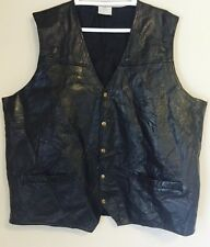 Black Patchwork Leather Motorcycle Biker Type Vest Size XXL 2XL