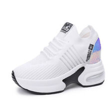 Women Breathable Sneakers Lace Up Athletic Sport Wedge Heel Casual Creeper Shoes