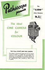 PATHE /PATHESCOPE LIDO 9.5mm CINE CAMERA Sales Leaflet 1959
