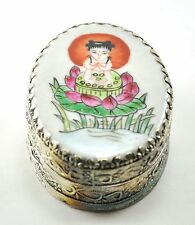 Vintage Chinese Shard Box Tibetan Silver Porcelain Inlay Jewelry Mirror Girl kid