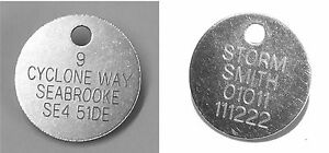 25mm Plain or Engraved ID Tag Disc / Nickel Plated (silver) Pet Dog/Cat /Bags