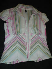 Green & Pink Vertical Stripe Short Sleeve Shirt by H&M in Size 10 - Chest 37""