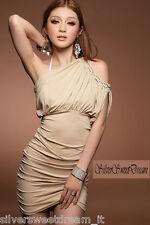 Vestito beige perle perline elegante cerimonia sera monospalla donna mini abito