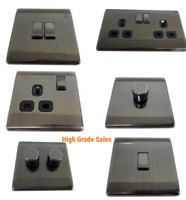 Home Of Style Raised Screwless Switches, Sockets & Dimmers - Pewter Finish.(B14)