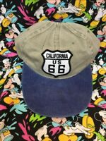 90s VTG nos ROUTE 66 CALIFORNIA Dad HAT STRAPBACK Racing Cap Relaxed Khaki Sign