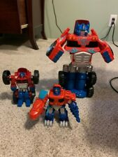 Transformers Playskool Heroes Rescue Bots Optimus Prime Dino Monster Truck Lot