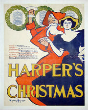 HARPER'S MAGAZINE CHRISTMAS  original 1895 poster by Edward Penfield - Santa