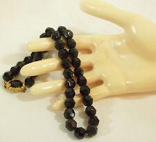JET Black Faceted Glass Beads Necklace CHOKER Strand String Sparkle Gold Vintage