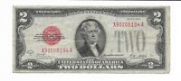 $2 Series of 1928 A Legal Tender Red Seal Banknote F - VF Jefferson #A90208194A