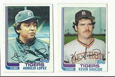 VINTAGE 1982 TOPPS BASEBALL CARDS – DETROIT TIGERS – MLB