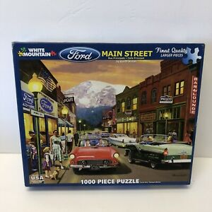 """Puzzle FORD MAIN STREET White mountain #1172 1000 Large Pieces 24""""x30"""" Walsh"""