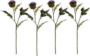 4 x Artificial Thistle Purple Flowers Sprays