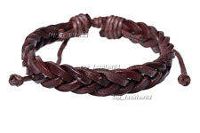 2pcs Lots Men Handmade Brown Leather Braided Wristband Bracelet FREE