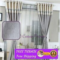 Blockout Grey Gray Fabric Valance Drapes Sheer Eyelet Rod Pocket Bedroom Curtain