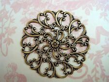 (1) - Boff999 Jewelry Finding Large Oxidized Brass Plated Filigree Stamping