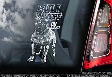 Bullmastiff - Car Window Sticker - Bull Mastiff Dog on Board Sign Art Gift -TYP2