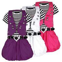 GIRLS BELTED SHORT SLEEVE DRESS DIAMANTE BABY DESIGN & WAISTCOAT SET 3-12 Y