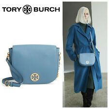 Tory Burch Everly Pebbled Leather Flap Saddle Bag - Blue Yonder NWT
