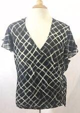 Lane Bryant shirt top 22W 24W Sheer Checker wrap black short sleeve EUC Blouse