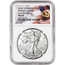 2018-(W) American Silver Eagle - NGC MS70 - Early Releases - Purple Heart