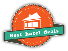 "Best Hotel Deal Travel Label Car Bumper Sticker Decal 5"" x 4"""