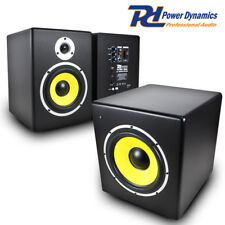 Pair PDSM 6 Inch Active Powered Home Bedroom Reference Studio Monitors Subwoofer
